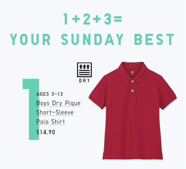 BOYS DRY PIQUE SHORT-SLEEVE POLO SHIRT $14.90