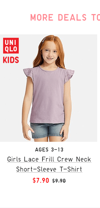 GITLS LACE FRILL CREW NECK SHORT-SLEEVE T-SHIRT $7.90