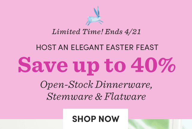 Save Up To 40% Open-Stock Dinnerware, Stemware & Flatware›