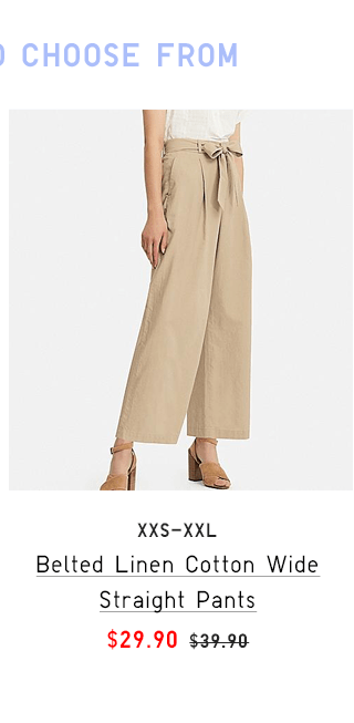 BELTED LINEN COTTON WIDE STRAIGHT PANTS $29.90