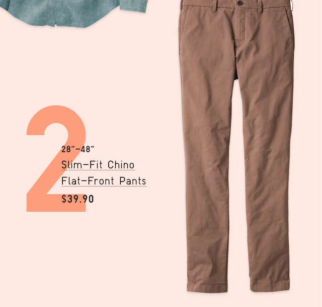 SLIM-FIT CHINO FLAT-FRONT PANTS $39.90