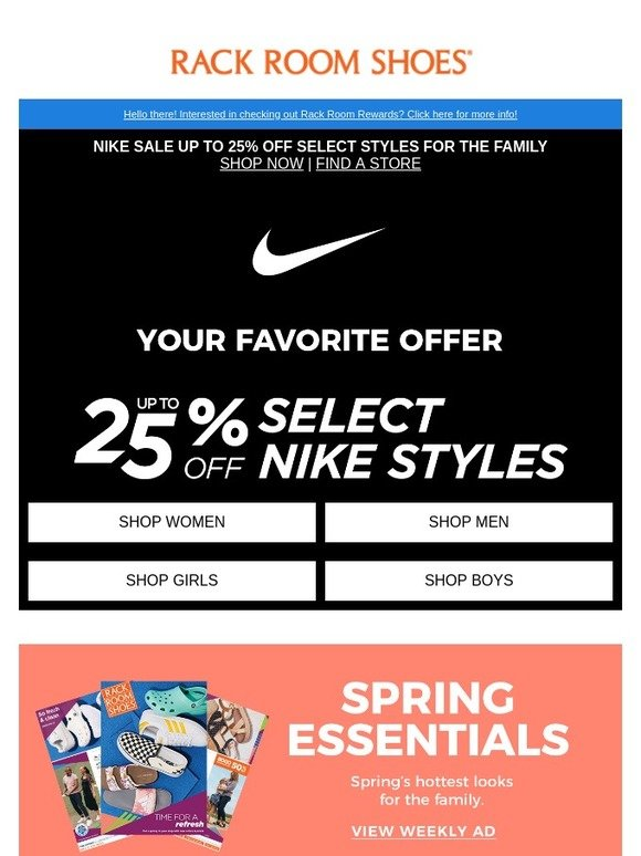 f12646a00a24 Rack Room Shoes: YES! Up to 25% off select Nike for the family | Milled