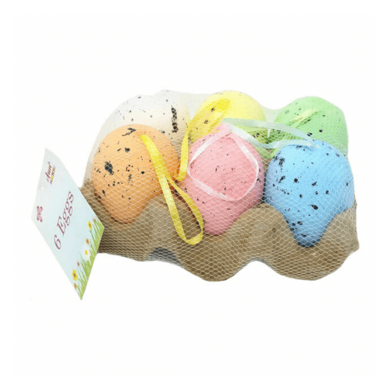6 PACK OF DECORATIVE EASTER EGGS