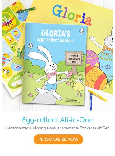 Egg-cellent All-in-One Personalized Coloring Book, Placemat, & Stickers Gift Set