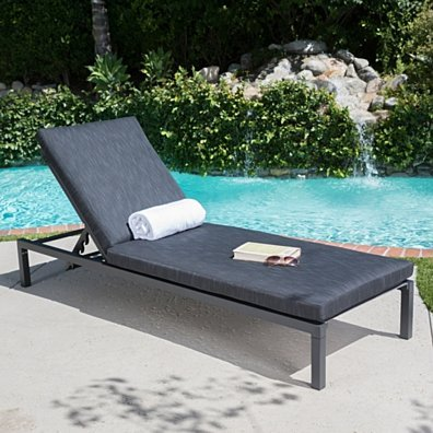 Nealie Outdoor Mesh Aluminum Frame Chaise Lounge w/ Water Resistant Cushion
