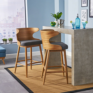 Truda Mid Century Modern Fabric Barstools (Set of 2)