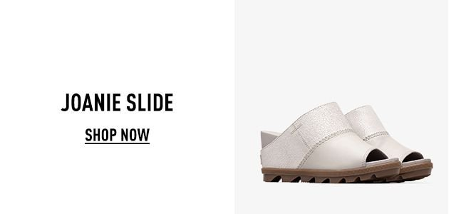 A pair of spring Joanie slides on a white background