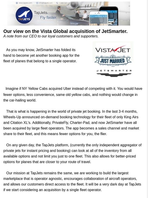 TAPJETS Inc: Our view on the Vista Global acquisition of