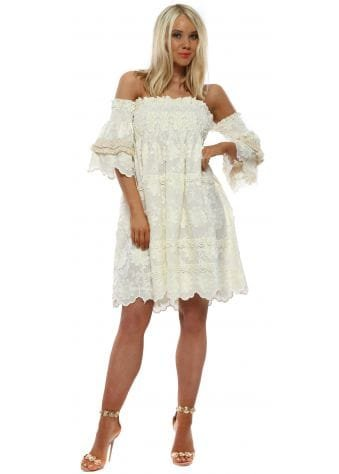 Ivory Embroidered Flowers Bardot Dress