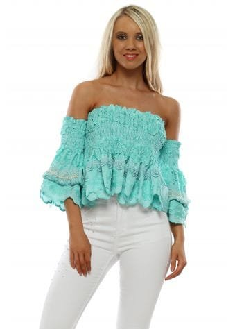 Turquoise Floral Cropped Bardot Top