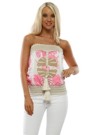 Pink Floral Embroidered Butterfly Boobtube