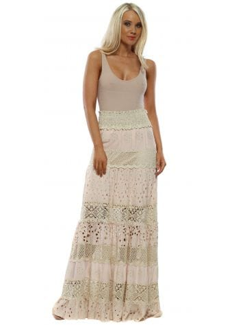 Pink Broderie Anglaise Maxi Skirt