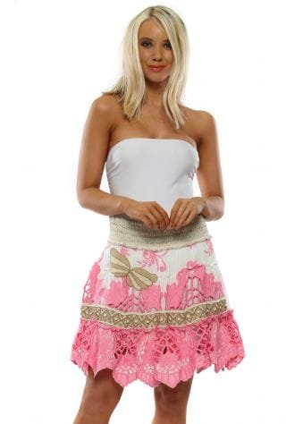 Pink Floral Embroidered Butterfly Mini Skirt