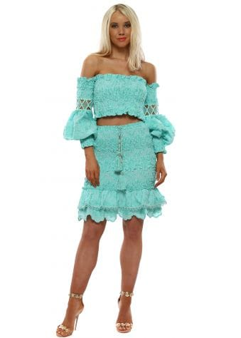 Turquoise Cropped Top & Skirt Set