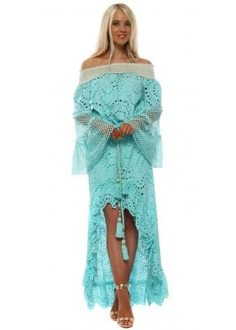 Turquoise Broderie Anglaise Top & Skirt Set