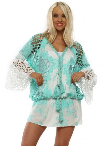 Turquoise & White Floral Embroidered Kaftan Top