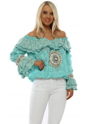 Turquoise Crystal Lace Bardot Top