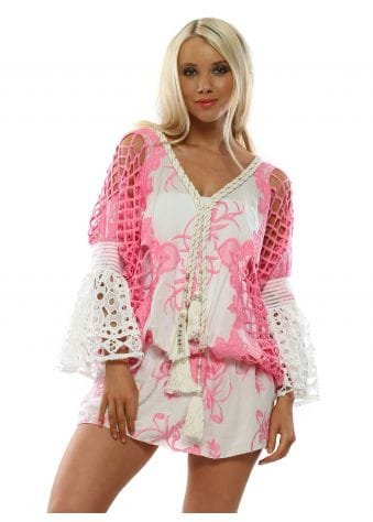 Pink & White Floral Embroidered Kaftan Top