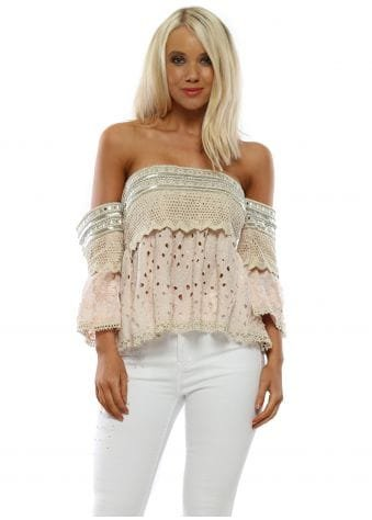 Pink Broderie Anglaise Bardot Cropped Top