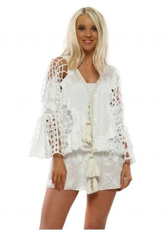 White Floral Embroidered Kaftan Top