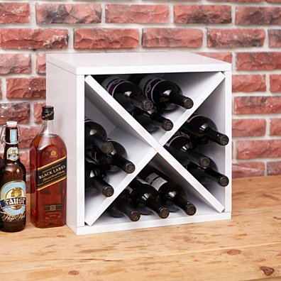 Way Basics Stackable Blox Wine Cube Storage 12 Bottles, White - Tool-Free Assembly - Non Toxic - LIFETIME GUARANTEE