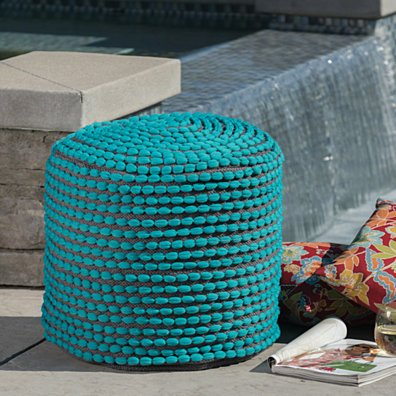 Collier Outdoor Turquoise Fabric Round Pouf Ottoman