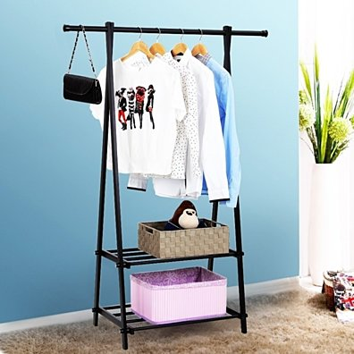 Garment Rack Metal Clothes Coat Shoe Storage Shelf Black