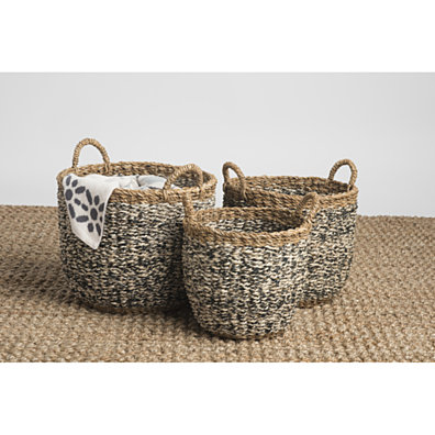 Fab Habitat Ebony Natural and Black 3 piece Basket Set
