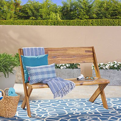 Irene Outdoor Acacia Wood Bench
