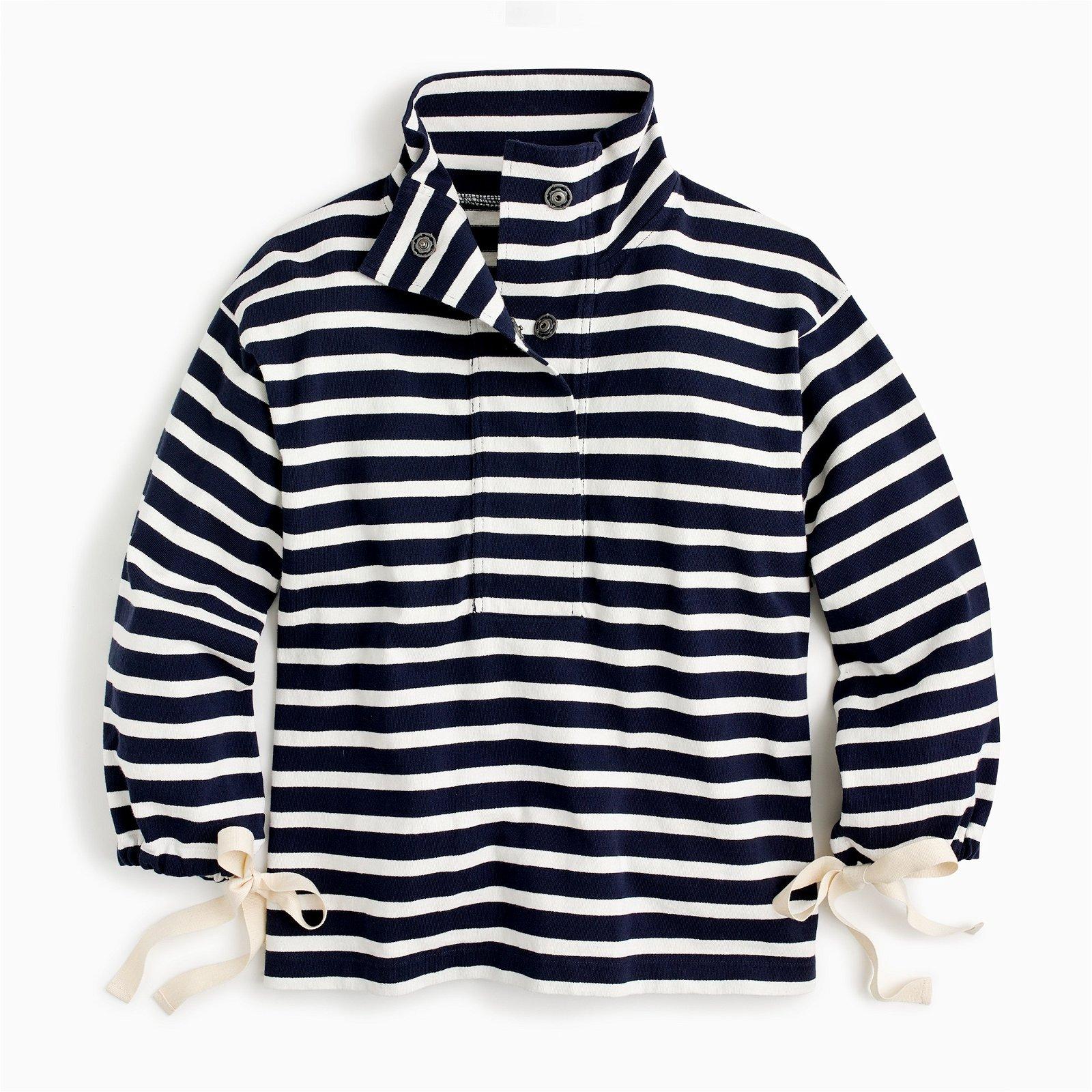 Striped snap-neck sweatshirt