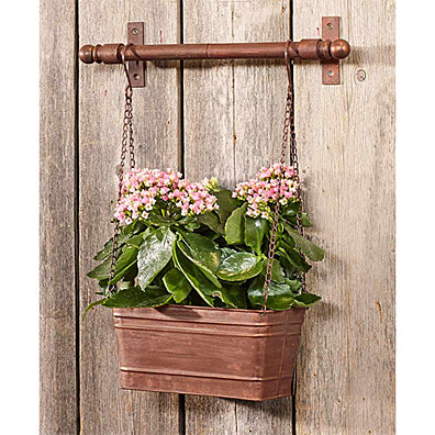 Hanging Metal Wall Planter. Available in Galvanized Metal or Antique Bronze