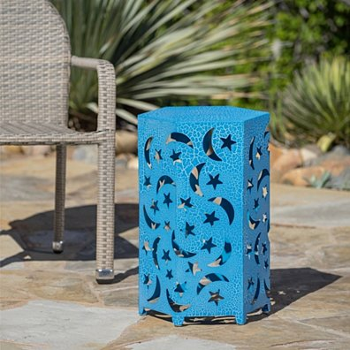 Neptune Outdoor 14 Inch Crackle Finish Iron Moon and Stars Side Table