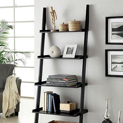 Sion Contemporary Ladder Shelf, Black Finish