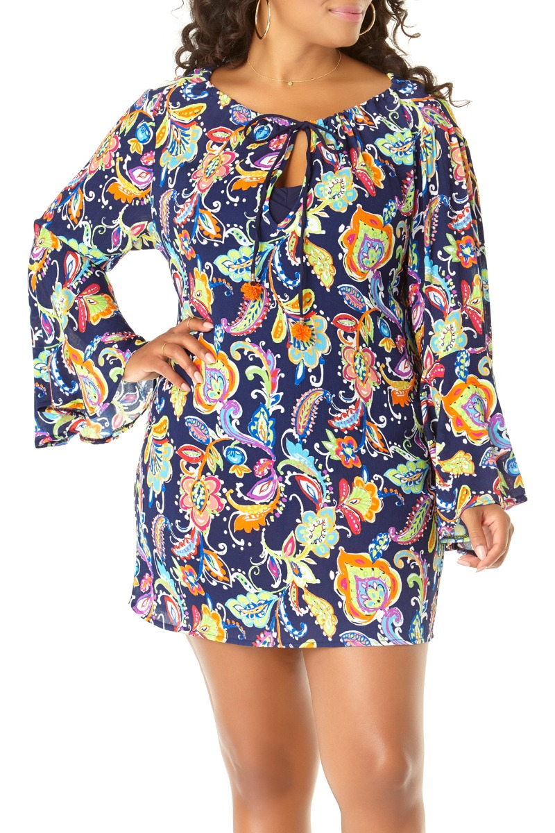 Image of Anne Cole Plus Paisley Pom Bell Sleeve Tunic