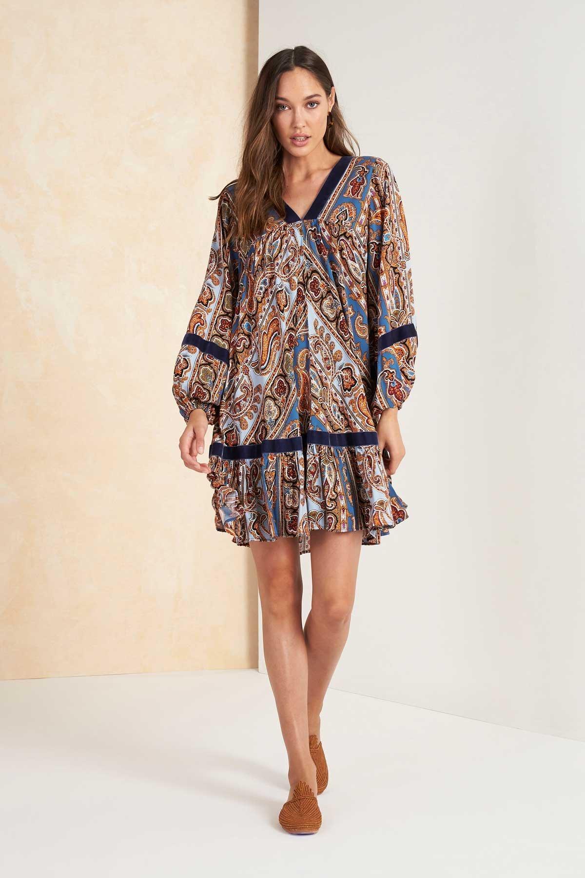Caya Longsleeve Mini Dress - Blue