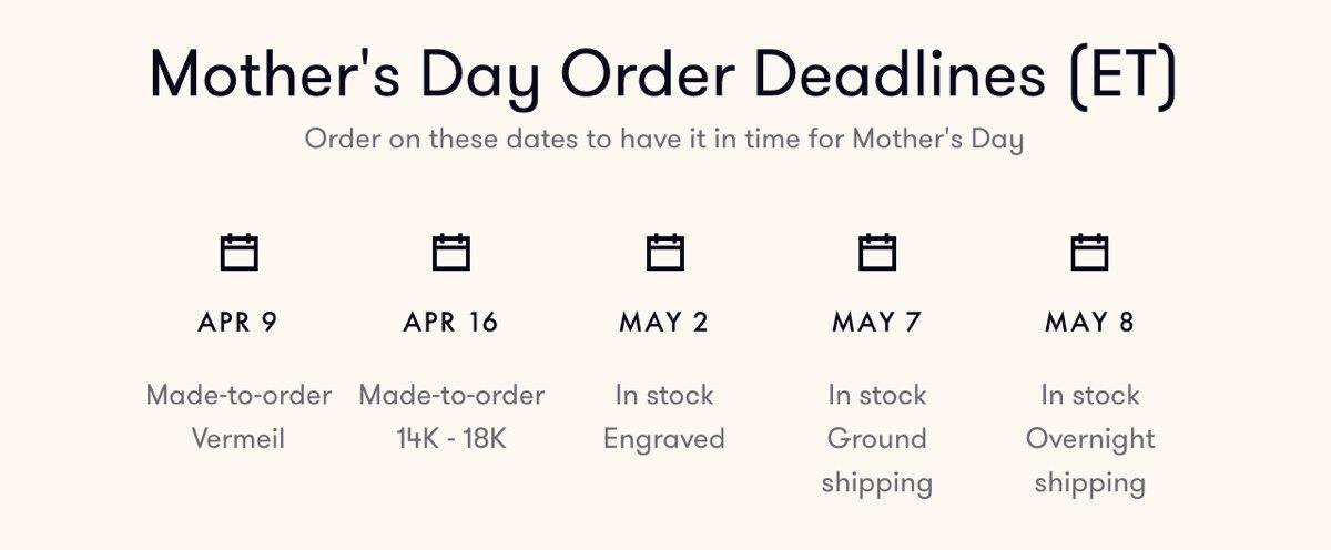 Mother's Day Order Deadlines
