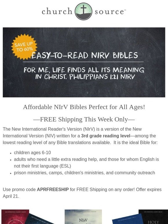 ibsdirect com: NIrV Easy-To-Read Bibles up to 60% off! Free Shipping