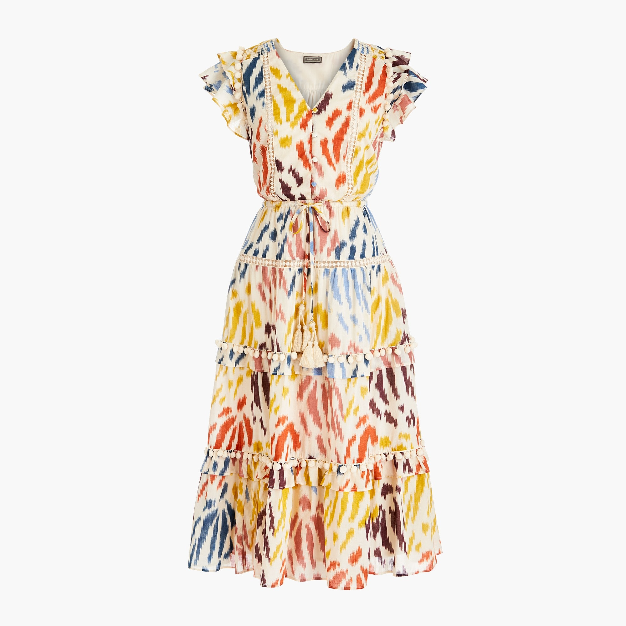 Classic Point Sur flutter-sleeve midi dress in printed cotton voile