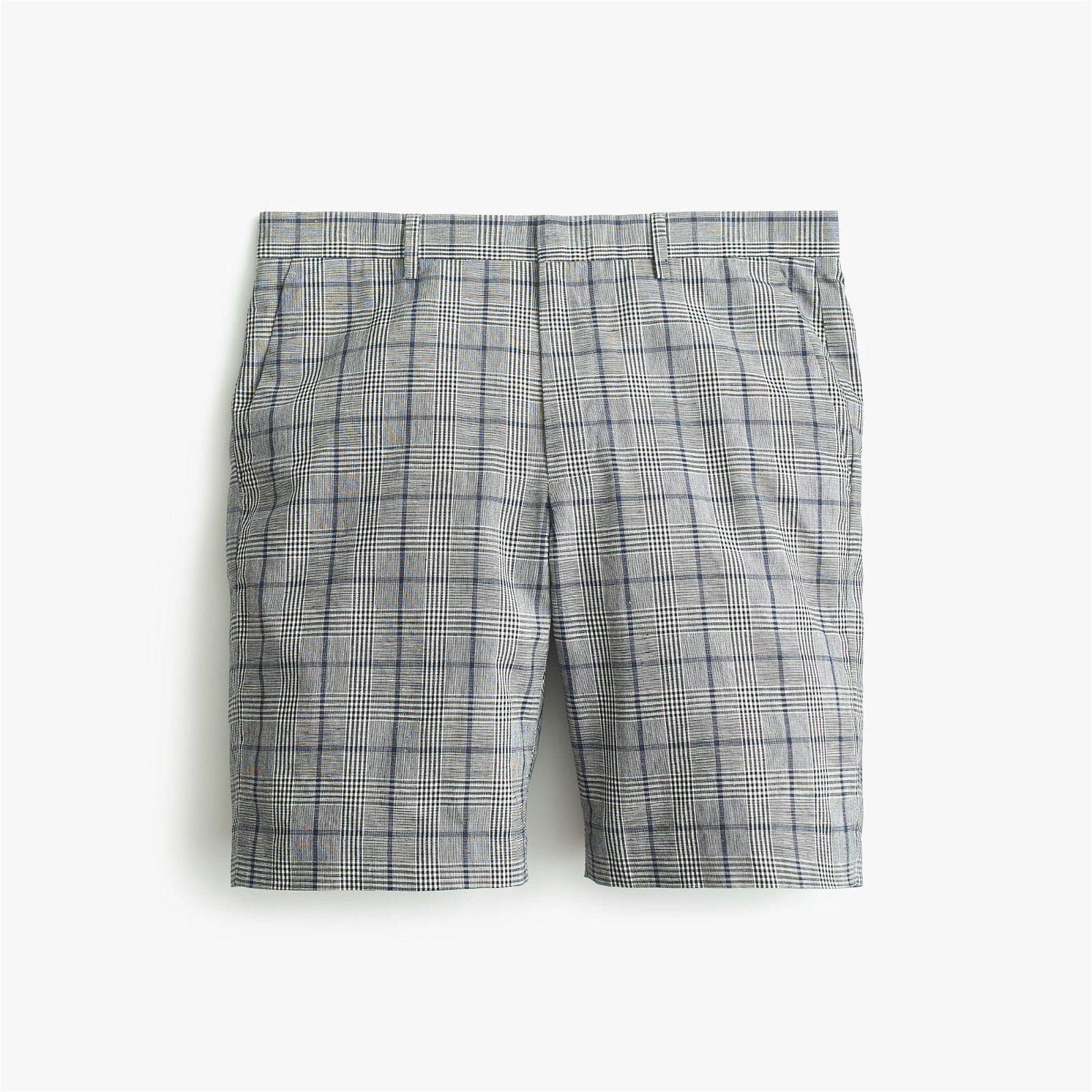 Ludlow Slim-fit Un-suit short in glen plaid cotton