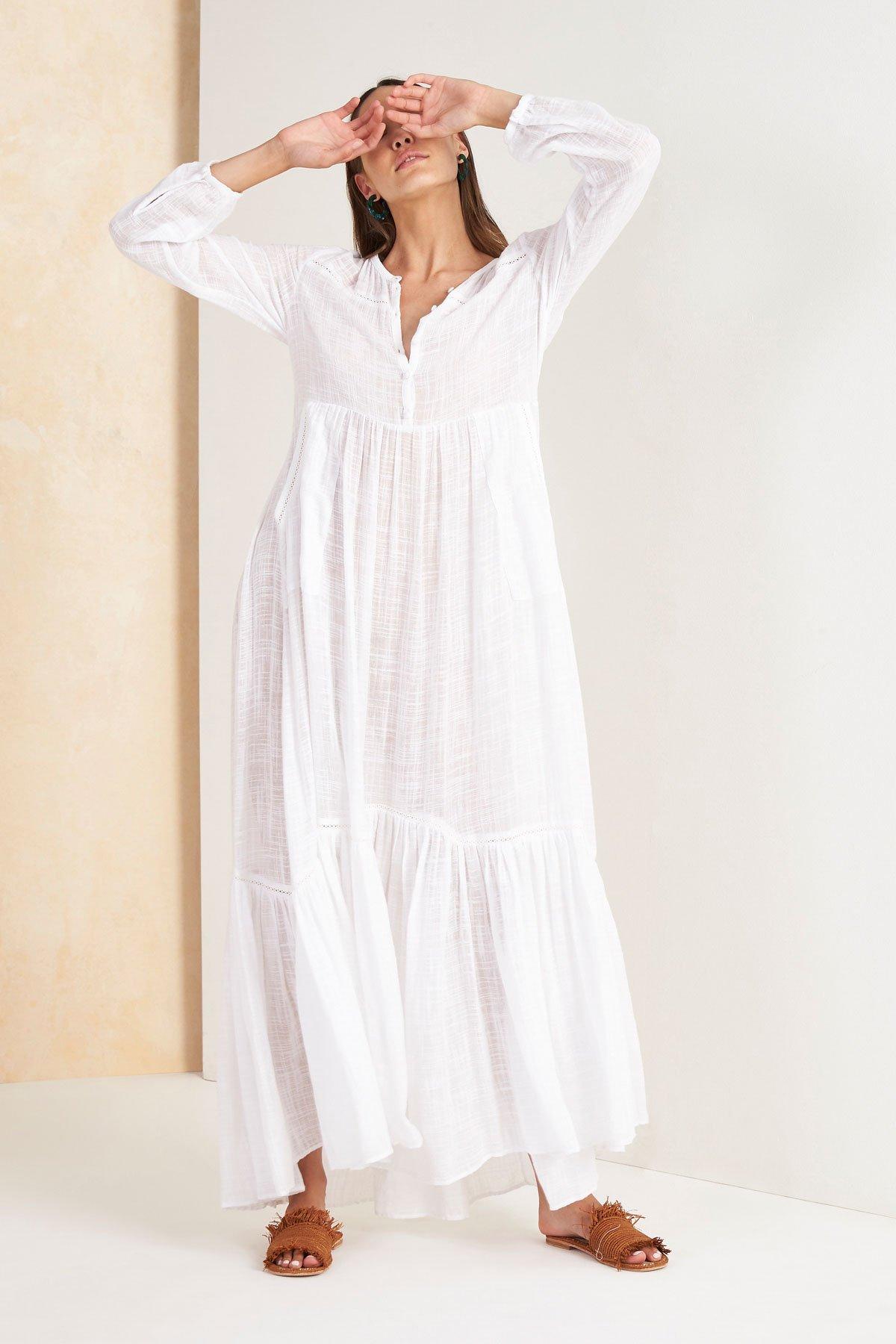 Image of Paradalis Longsleeve Maxi Dress - White