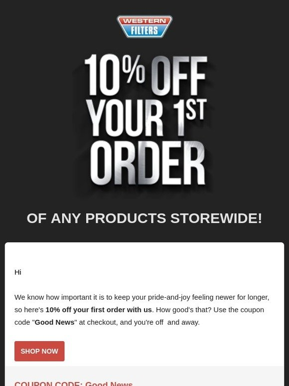 western filters: Just For You: Save 10% Off Your First Order | Milled