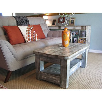 Rustic Coffee Table with Shelf in