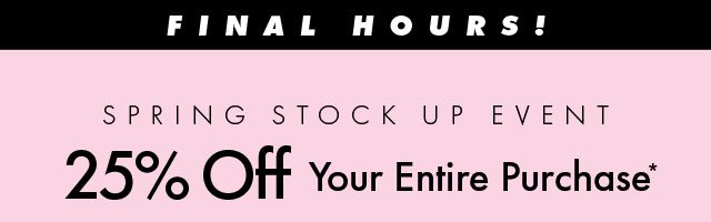 Final Hours 20% Off