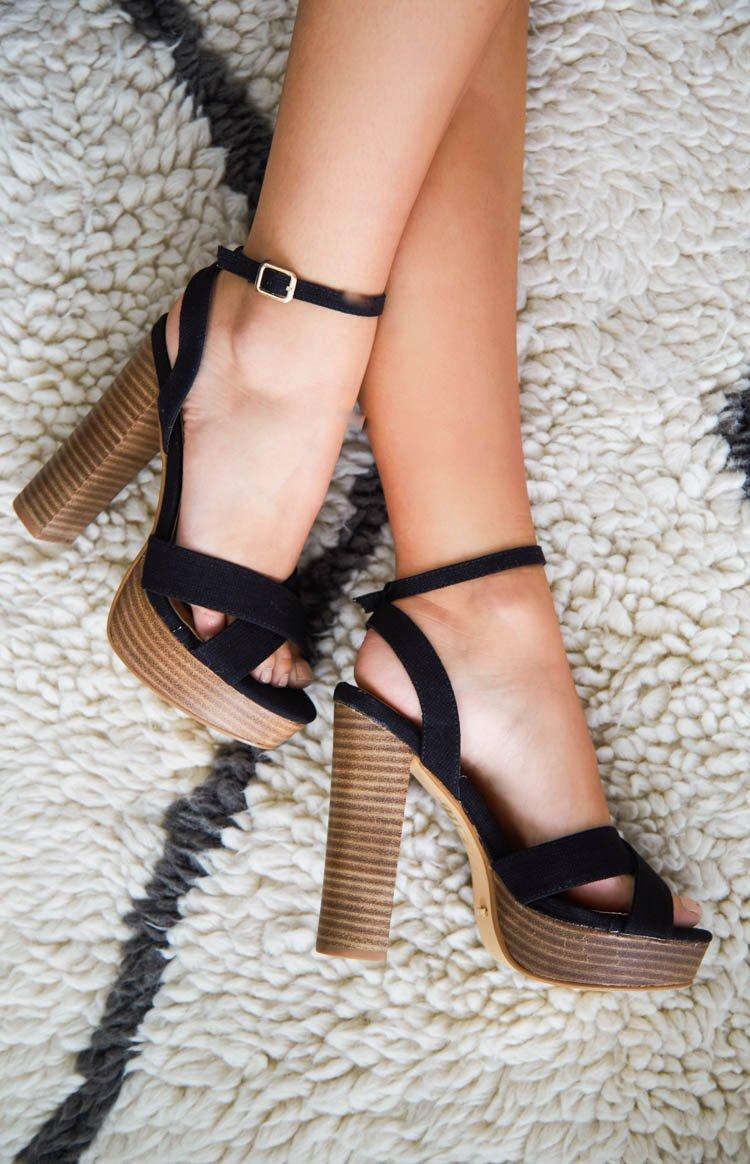 Billini Eva Heels Black Linen