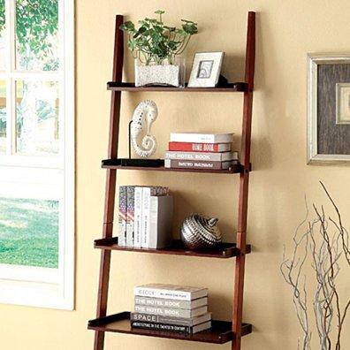 Sion Contemporary Ladder Shelf, Cherry Finish