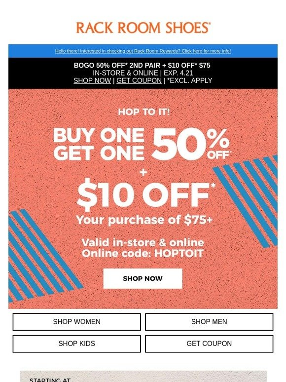 Rack Room Shoes: Here, take $10 off