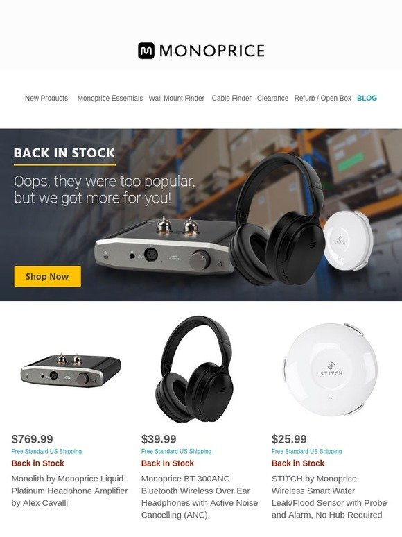 20d42a76904 Monoprice.com: Popular Items Restocked: BT-300ANC Bluetooth Headphones w/  ANC + 12