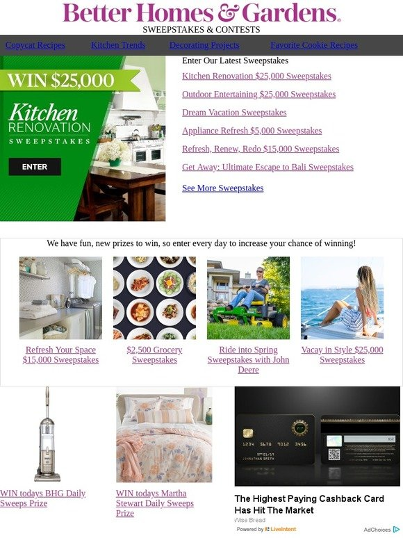 Better Homes and Gardens: Enter to WIN $25,000 for a kitchen