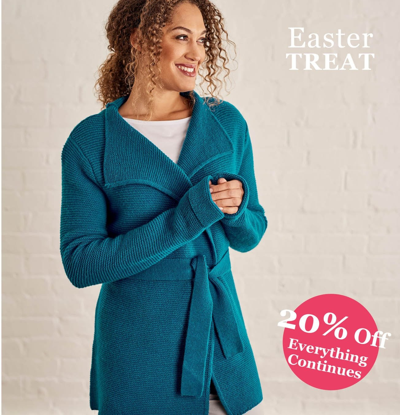 Womens Chunky Stitch Belted Cardigan in Teal