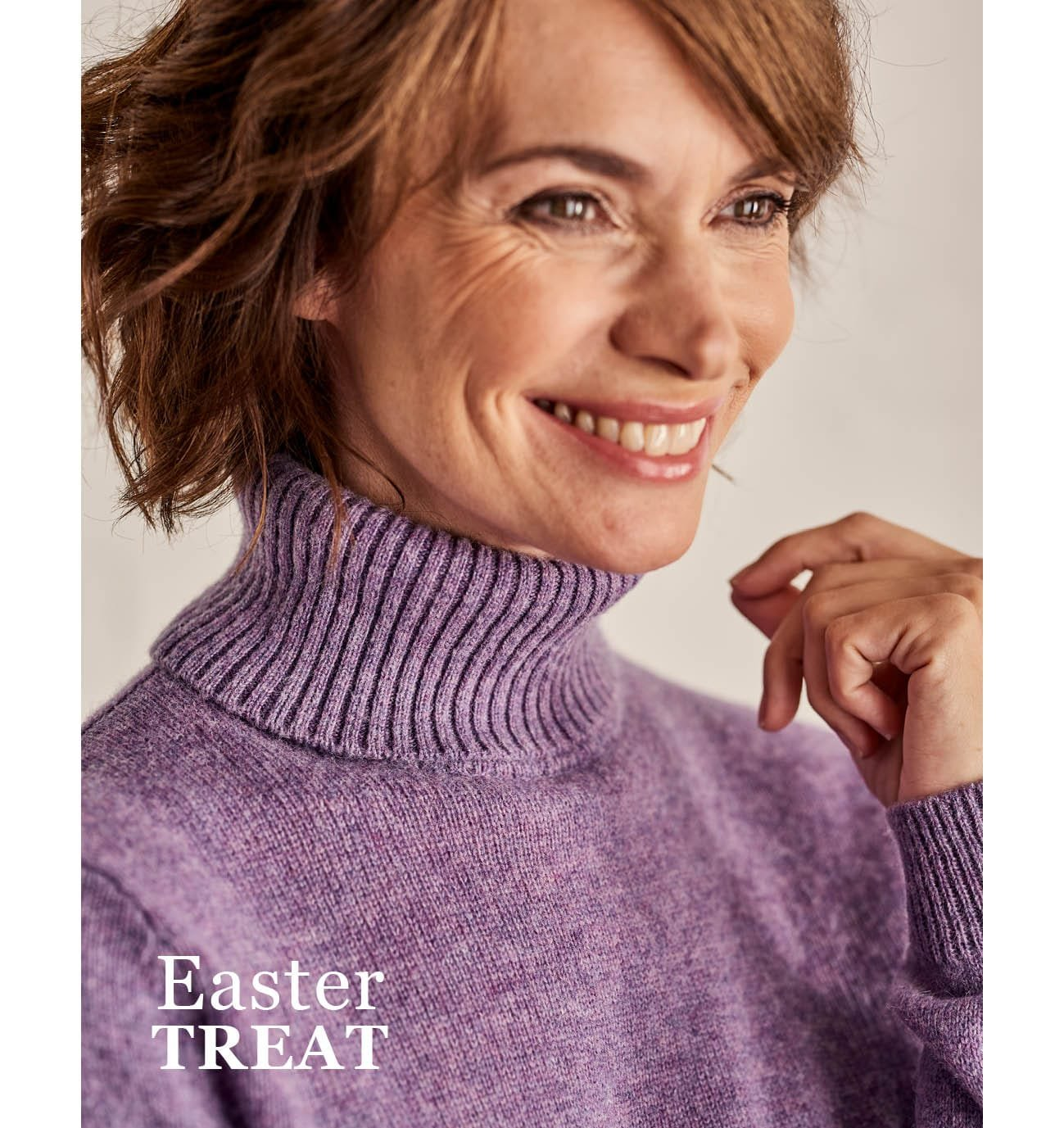 Lambswool Polo Neck Jumper in Lavender Marl